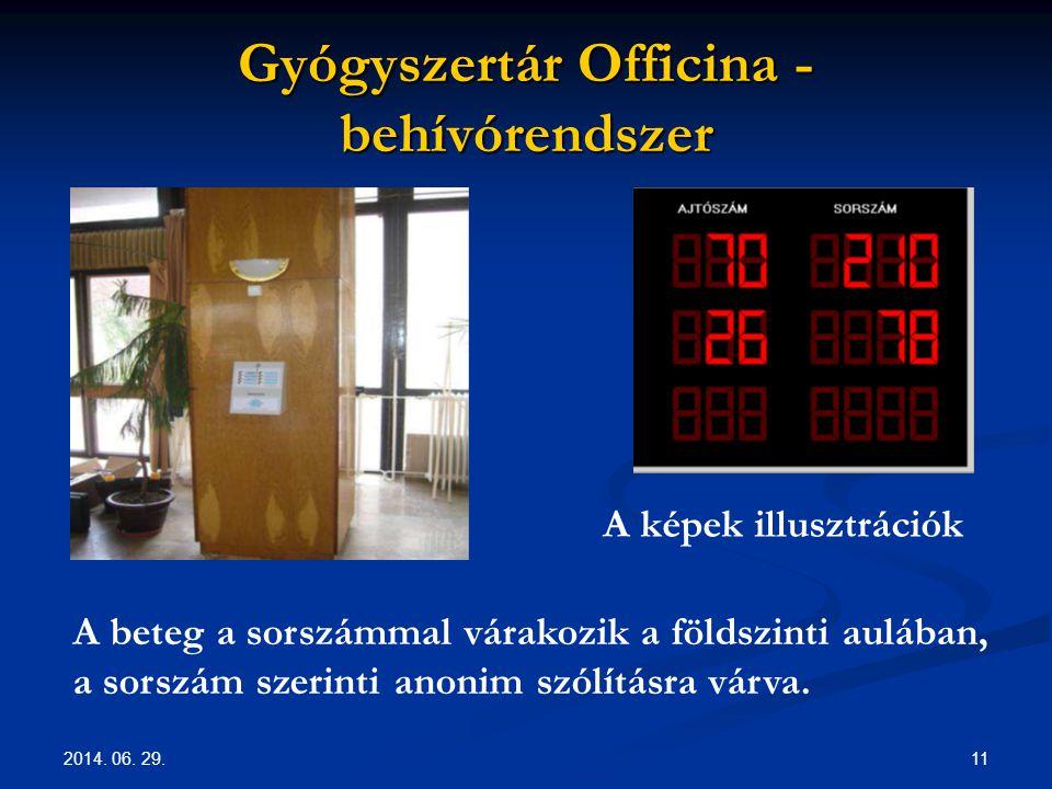 2014. 06. 29. 11 Gyógyszertár Officina - behívórendszer A képek illusztrációk A beteg a sorszámmal várakozik a földszinti aulában, a sorszám szerinti