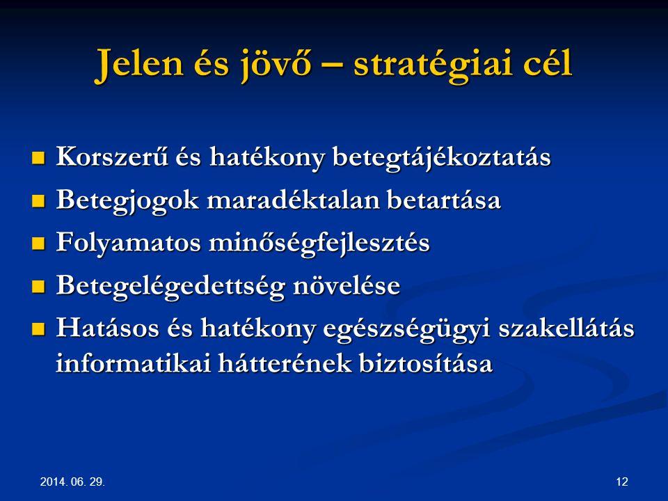 2014. 06. 29. 12 Jelen és jövő – stratégiai cél  Korszerű és hatékony betegtájékoztatás  Betegjogok maradéktalan betartása  Folyamatos minőségfejle