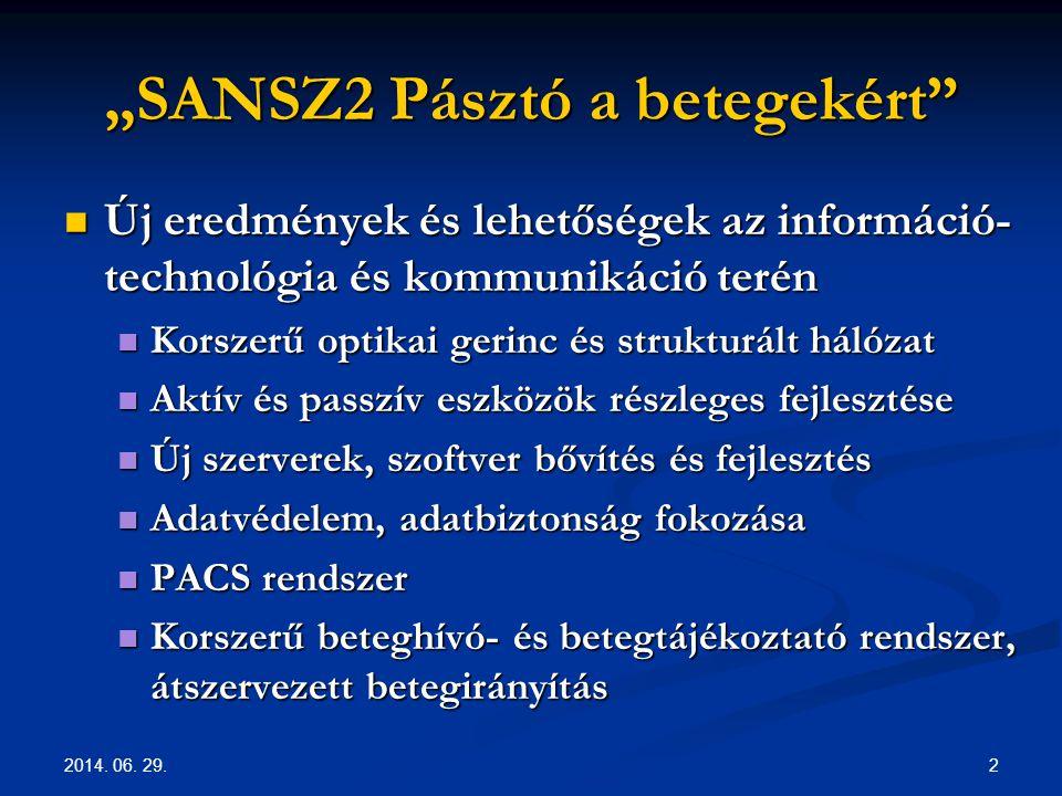 """2014. 06. 29. 2 """"SANSZ2 Pásztó a betegekért""""  Új eredmények és lehetőségek az információ- technológia és kommunikáció terén  Korszerű optikai gerinc"""