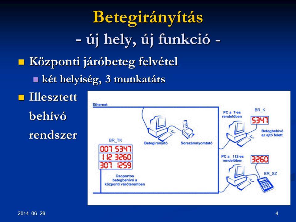 2014. 06. 29. 4 Betegirányítás - új hely, új funkció -  Központi járóbeteg felvétel  két helyiség, 3 munkatárs  Illesztett behívórendszer