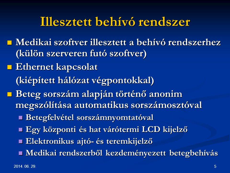 2014. 06. 29. 5 Illesztett behívó rendszer  Medikai szoftver illesztett a behívó rendszerhez (külön szerveren futó szoftver)  Ethernet kapcsolat (ki