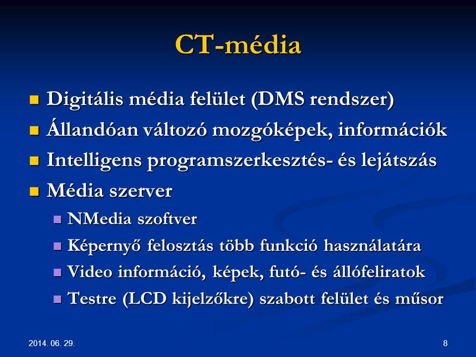 2014. 06. 29. 8 CT-média  Digitális média felület (DMS rendszer)  Állandóan változó mozgóképek, információk  Intelligens programszerkesztés- és lej