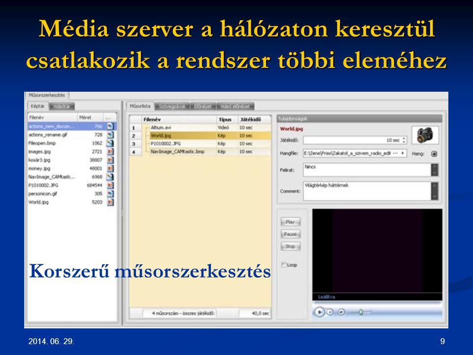 2014. 06. 29. 9 Média szerver a hálózaton keresztül csatlakozik a rendszer többi eleméhez Korszerű műsorszerkesztés