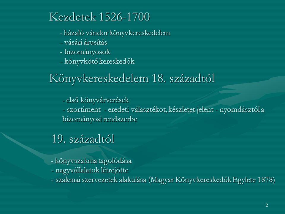 2 Kezdetek 1526-1700 - házaló vándor könyvkereskedelem - vásári árusítás - bizományosok - könyvkötő kereskedők Könyvkereskedelem 18.