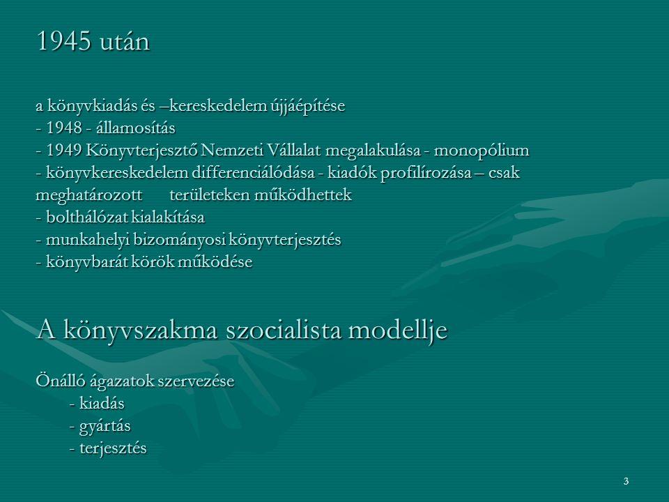 4 1990-es évek - új piaci viszonyok - kiadványok ára jelentősen megnőtt - privatizáció - Internet térhódítása - E-kereskedelem Bazsó Gergely: A magyar könyvkiadás és könyvkereskedelem rendszerének átalakulása – a hagyományos formáktól az Internet adta lehetőségekig.