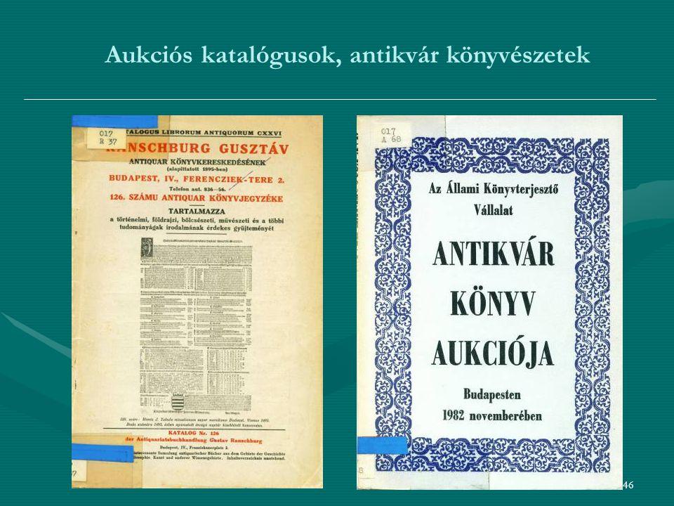 46 Aukciós katalógusok, antikvár könyvészetek