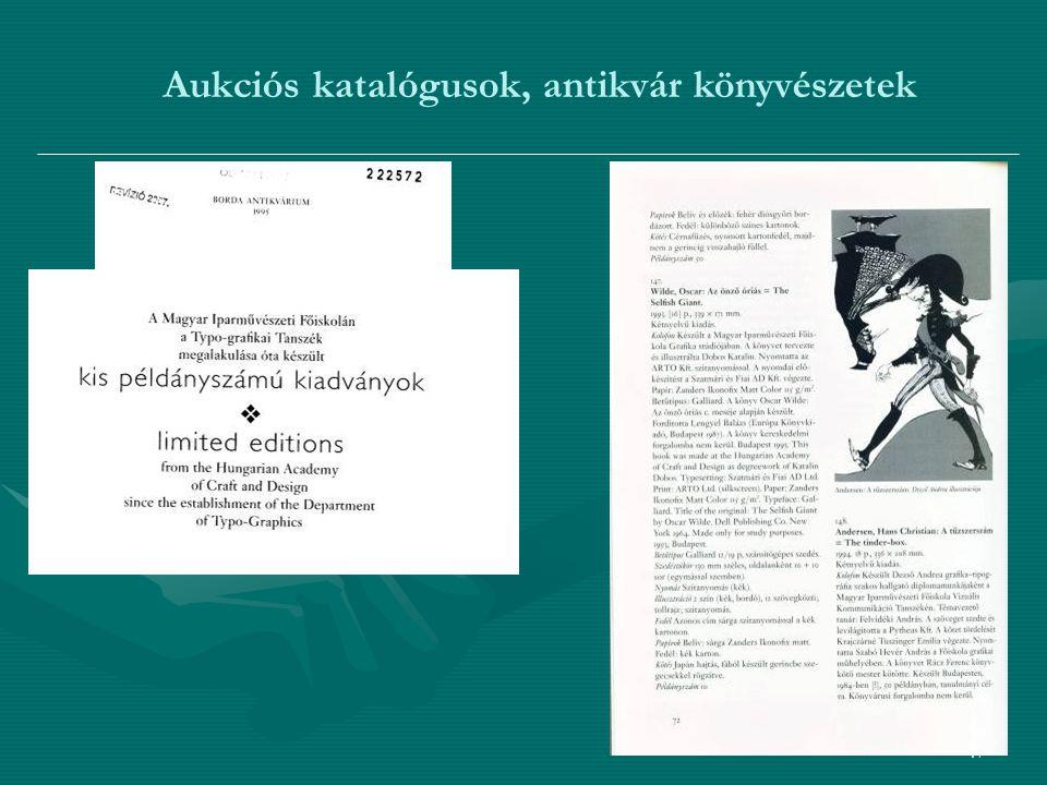 47 Aukciós katalógusok, antikvár könyvészetek