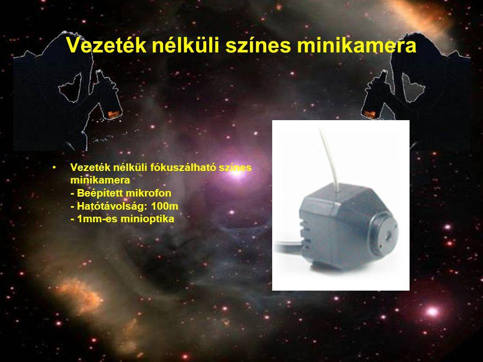 Vezeték nélküli színes minikamera •Vezeték nélküli fókuszálható színes minikamera - Beépített mikrofon - Hatótávolság: 100m - 1mm-es minioptika