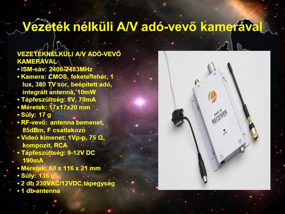 Vezeték nélküli A/V adó-vevő kamerával VEZETÉKNÉLKÜLI A/V ADÓ-VEVŐ KAMERÁVAL • ISM-sáv: 2400-2483MHz • Kamera: CMOS, fekete/fehér, 1 lux, 380 TV sor,