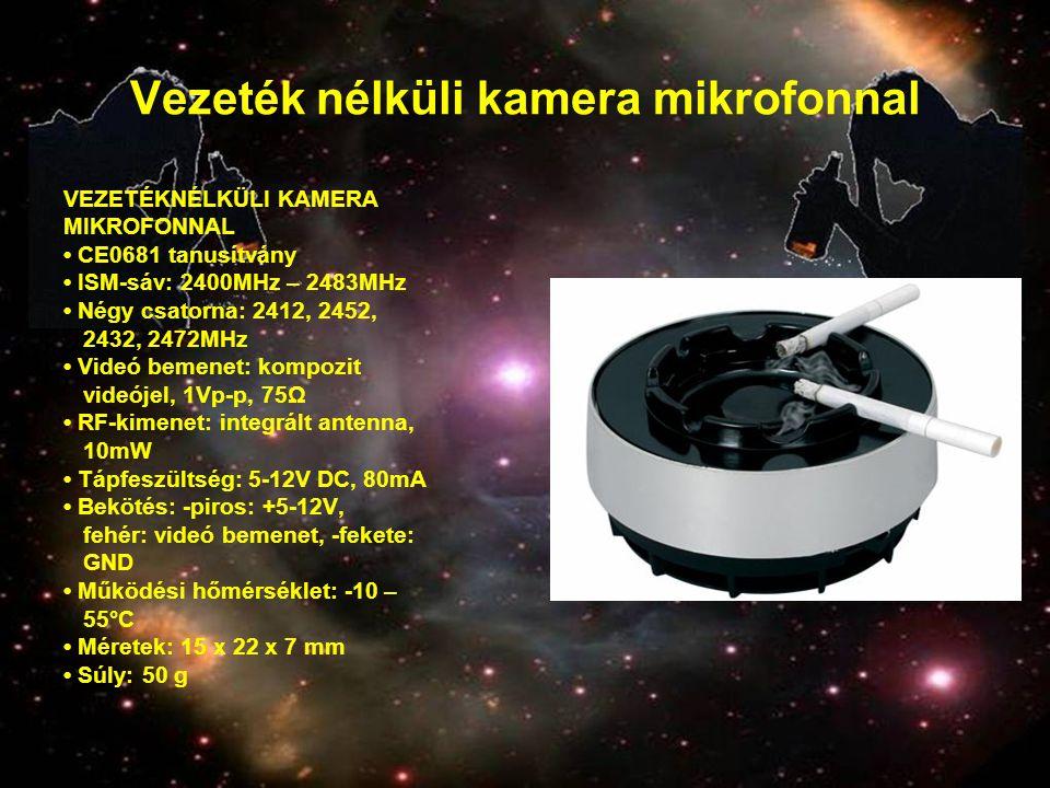 Vezeték nélküli kamera mikrofonnal VEZETÉKNÉLKÜLI KAMERA MIKROFONNAL • CE0681 tanusítvány • ISM-sáv: 2400MHz – 2483MHz • Négy csatorna: 2412, 2452, 24