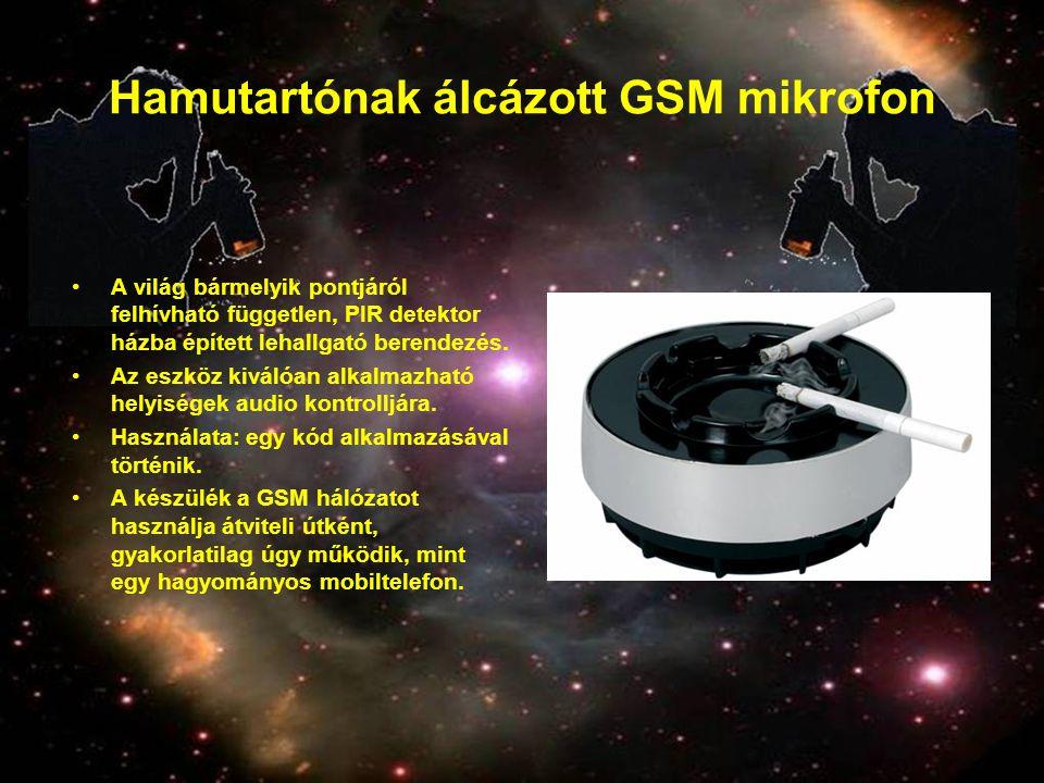 Hamutartónak álcázott GSM mikrofon •A világ bármelyik pontjáról felhívható független, PIR detektor házba épített lehallgató berendezés. •Az eszköz kiv