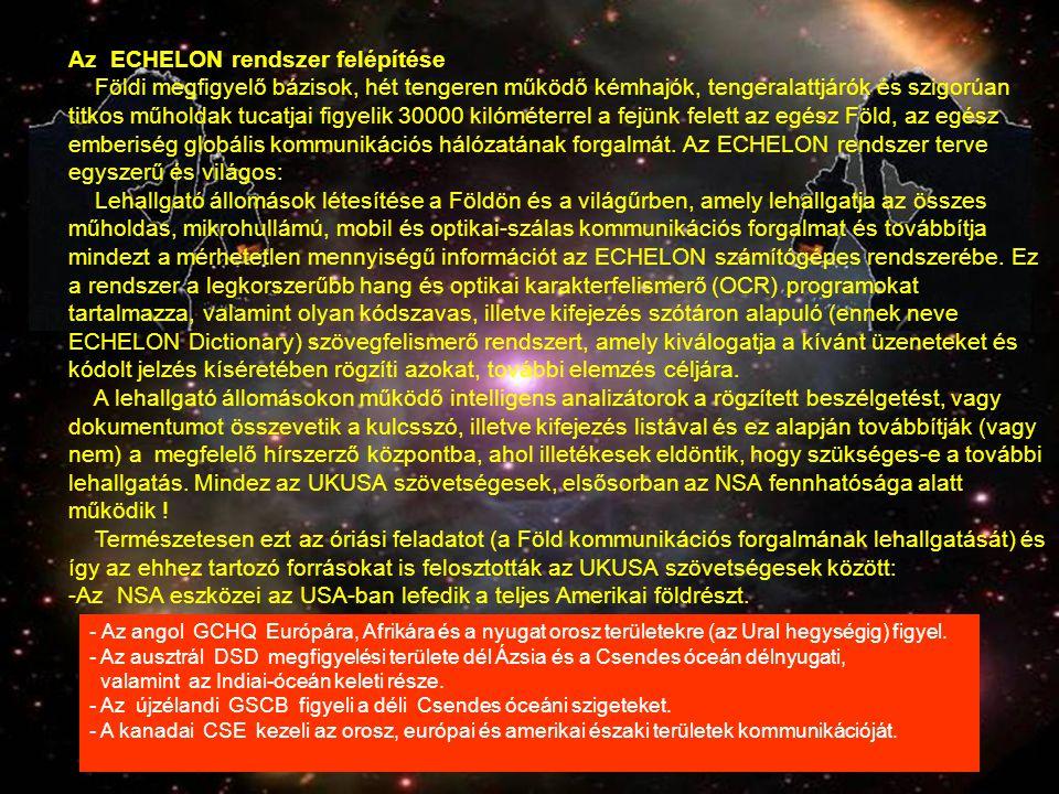 Az ECHELON rendszer felépítése Földi megfigyelő bázisok, hét tengeren működő kémhajók, tengeralattjárók és szigorúan titkos műholdak tucatjai figyelik