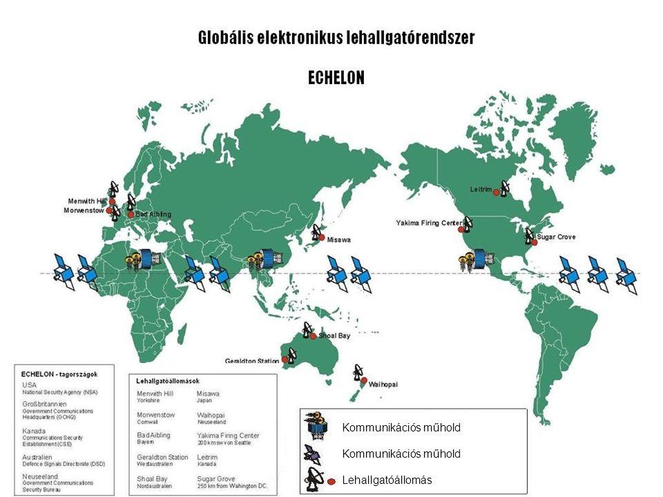 A napjainkban is üzemelő USA kémműholdak funkcióját és főbb paramétereit mutatja az alábbi táblázat: Műhold száma Pálya Gyártó Funkció Advanced KH-11 3 320 km Lockheed 13 centiméteres Martin felbontású fotózás LaCrosse Radar 2 320-640 km Lockheed 2.8-9.1 méteres Imaging Martin felbontású fotózás Orion/Vortex 3 35000 km TRW telecom lehallgatás Trumpet 2 320-35000 km Boeing mobil telefon lehallgatás Parsae 3 960 km TRW óceán lehallgatás Műholdas adatgyűjtő 2 320-35000 km Hughes adat közvetítés Védelem támogató 4 35000 km TRW/ rakéta jelzés program Aerojet Meteorológiai véde- 2 800 km Lockheed meteorológiai éslemtámogatóprogr.