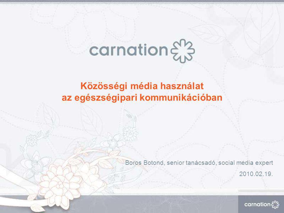Közösségi média használat az egészségipari kommunikációban Boros Botond, senior tanácsadó, social media expert 2010.02.19.