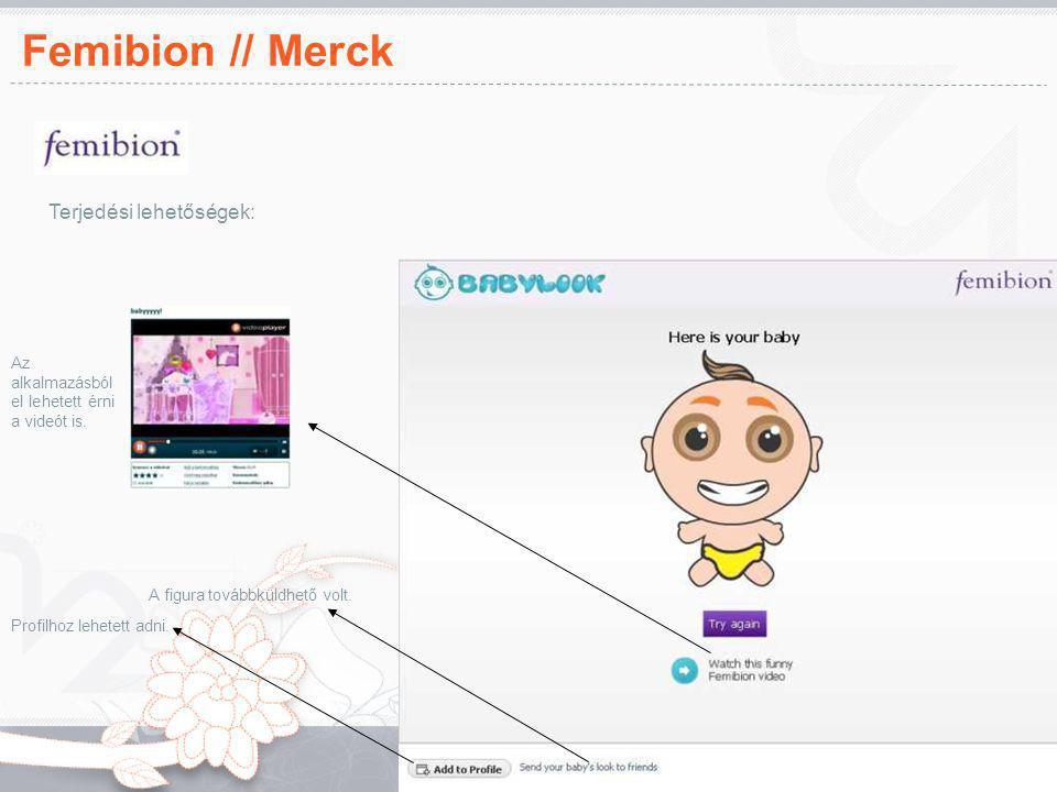 Femibion // Merck Az alkalmazásból el lehetett érni a videót is. A figura továbbküldhető volt. Profilhoz lehetett adni. Terjedési lehetőségek:
