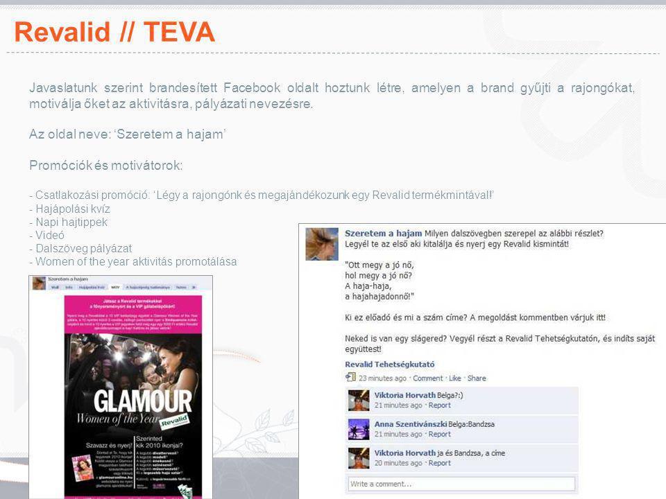 Revalid // TEVA Javaslatunk szerint brandesített Facebook oldalt hoztunk létre, amelyen a brand gyűjti a rajongókat, motiválja őket az aktivitásra, pá