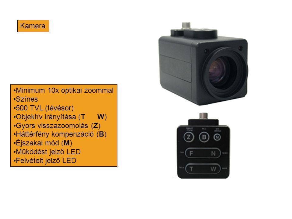 Kamera •Minimum 10x optikai zoommal •Színes •500 TVL (tévésor) •Objektív irányítása (T W) •Gyors visszazoomolás (Z) •Háttérfény kompenzáció (B) •Éjsza