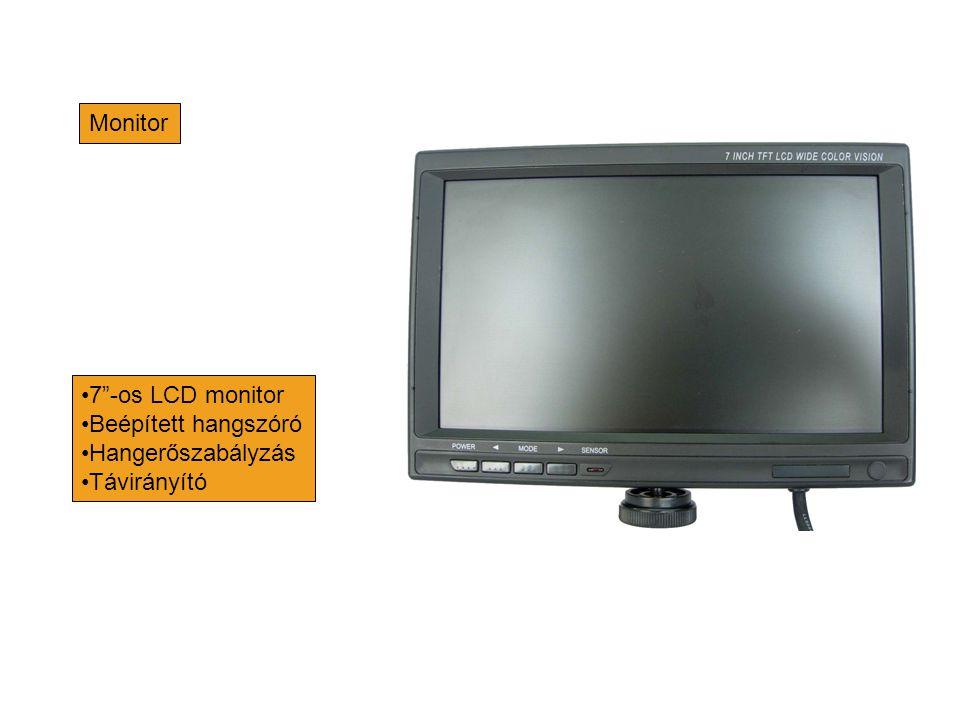 """Monitor •7""""-os LCD monitor •Beépített hangszóró •Hangerőszabályzás •Távirányító"""
