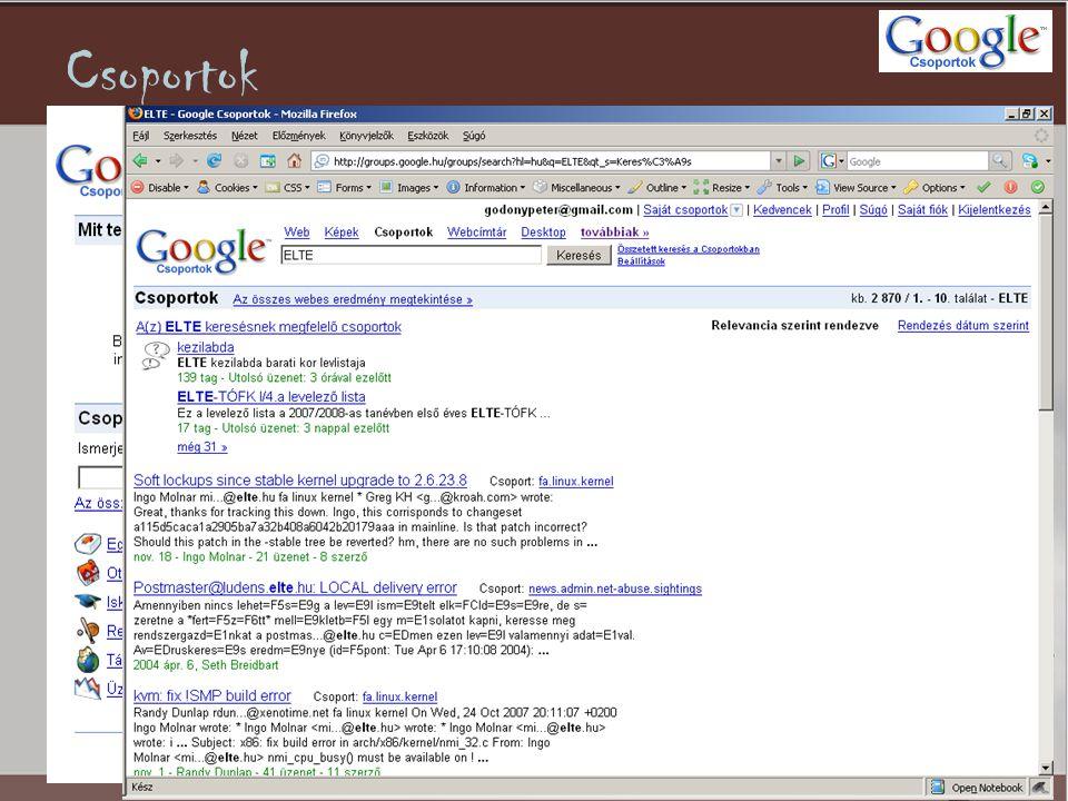 WebCímtár •Témakörökön alapuló kategóriákra osztott internetes keresés.