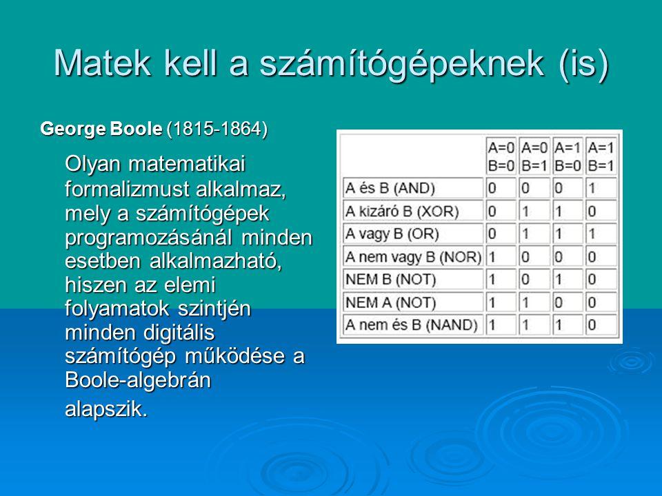 Matek kell a számítógépeknek (is) George Boole (1815-1864) Olyan matematikai formalizmust alkalmaz, mely a számítógépek programozásánál minden esetben alkalmazható, hiszen az elemi folyamatok szintjén minden digitális számítógép működése a Boole-algebrán alapszik.