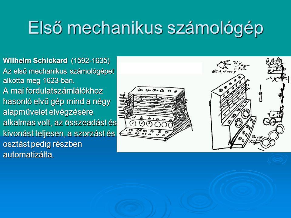 Első mechanikus számológép Wilhelm Schickard (1592-1635) Az első mechanikus számológépet alkotta meg 1623-ban.