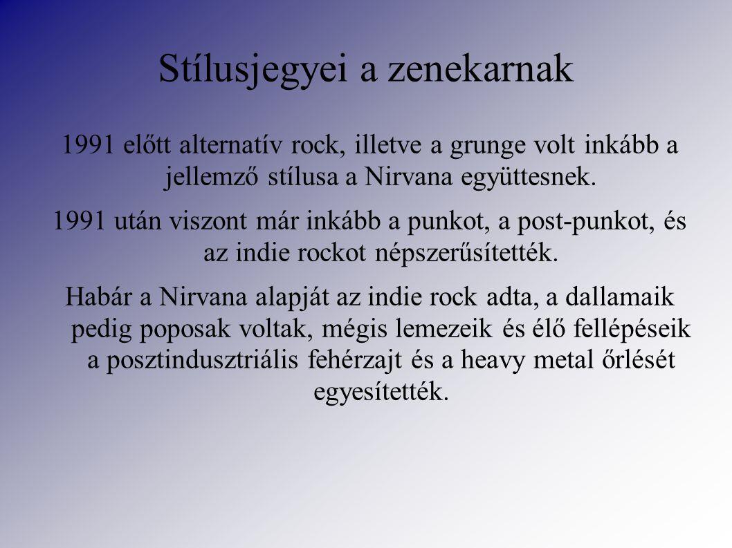 Stílusjegyei a zenekarnak 1991 előtt alternatív rock, illetve a grunge volt inkább a jellemző stílusa a Nirvana együttesnek.