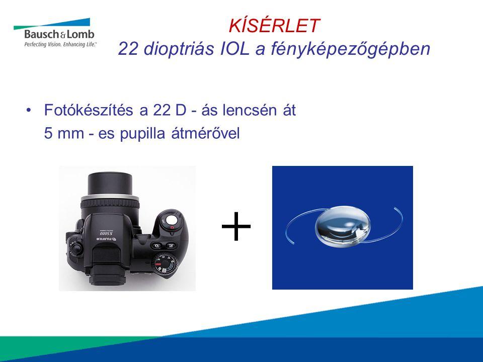 KÍSÉRLET 22 dioptriás IOL a fényképezőgépben •Fotókészítés a 22 D - ás lencsén át 5 mm - es pupilla átmérővel +