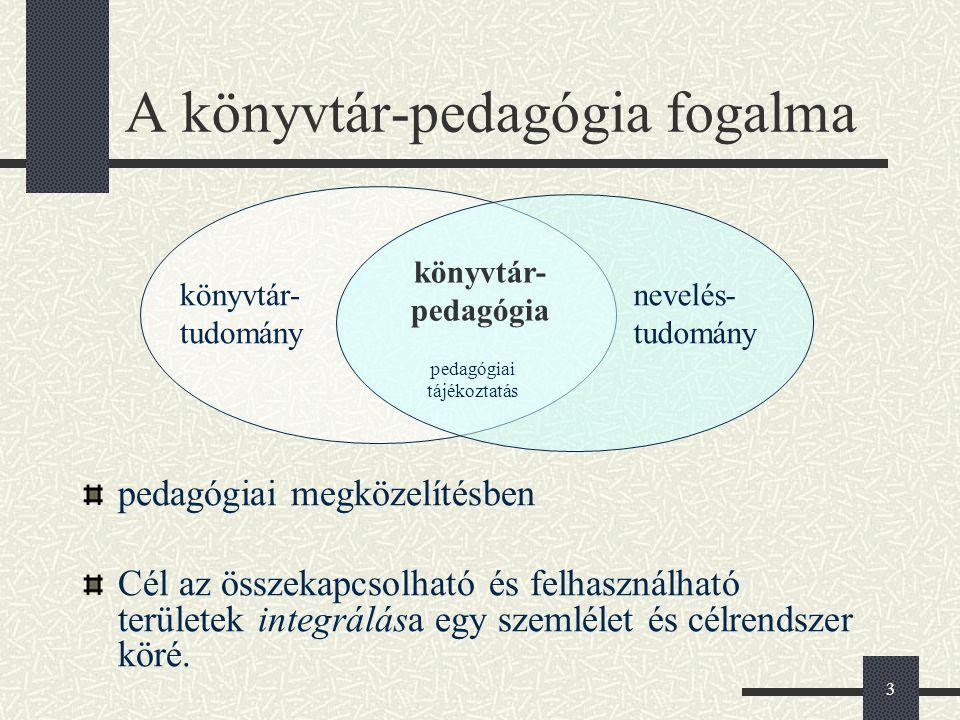 3 A könyvtár-pedagógia fogalma pedagógiai megközelítésben Cél az összekapcsolható és felhasználható területek integrálása egy szemlélet és célrendszer köré.