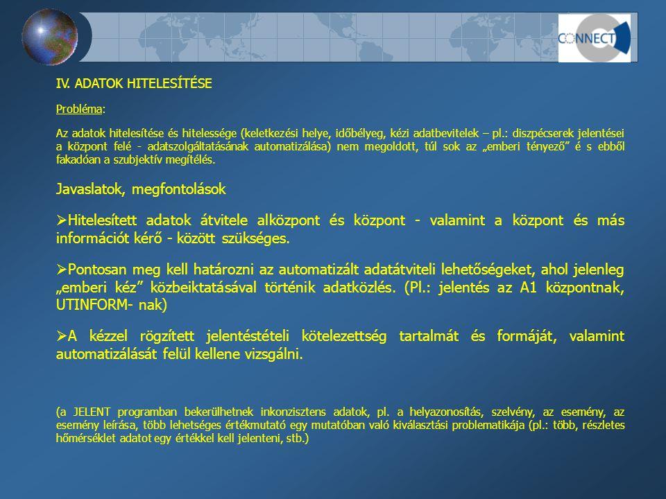 IV. ADATOK HITELESÍTÉSE Probléma: Az adatok hitelesítése és hitelessége (keletkezési helye, időbélyeg, kézi adatbevitelek – pl.: diszpécserek jelentés