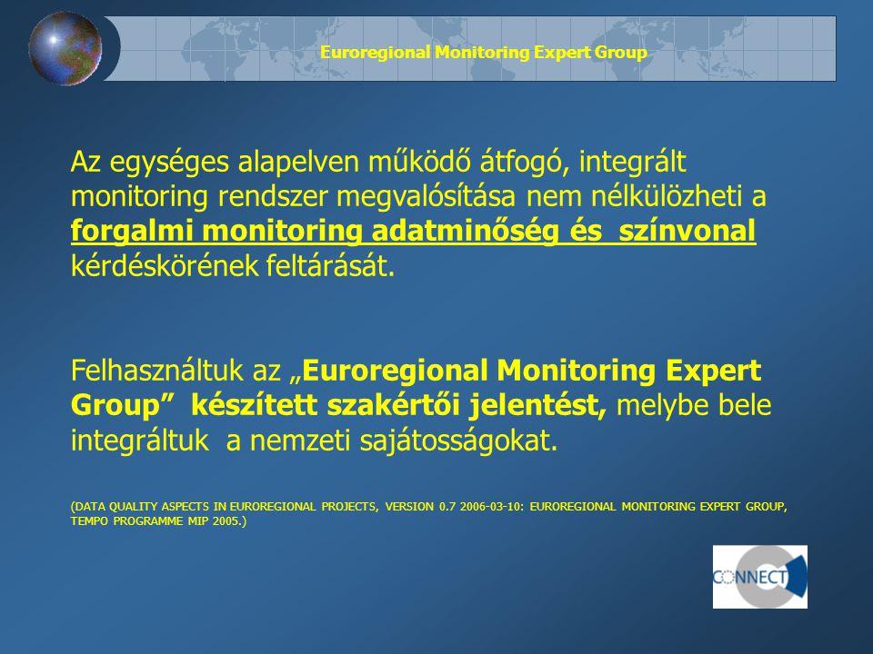 Euroregional Monitoring Expert Group Az egységes alapelven működő átfogó, integrált monitoring rendszer megvalósítása nem nélkülözheti a forgalmi monitoring adatminőség és színvonal kérdéskörének feltárását.