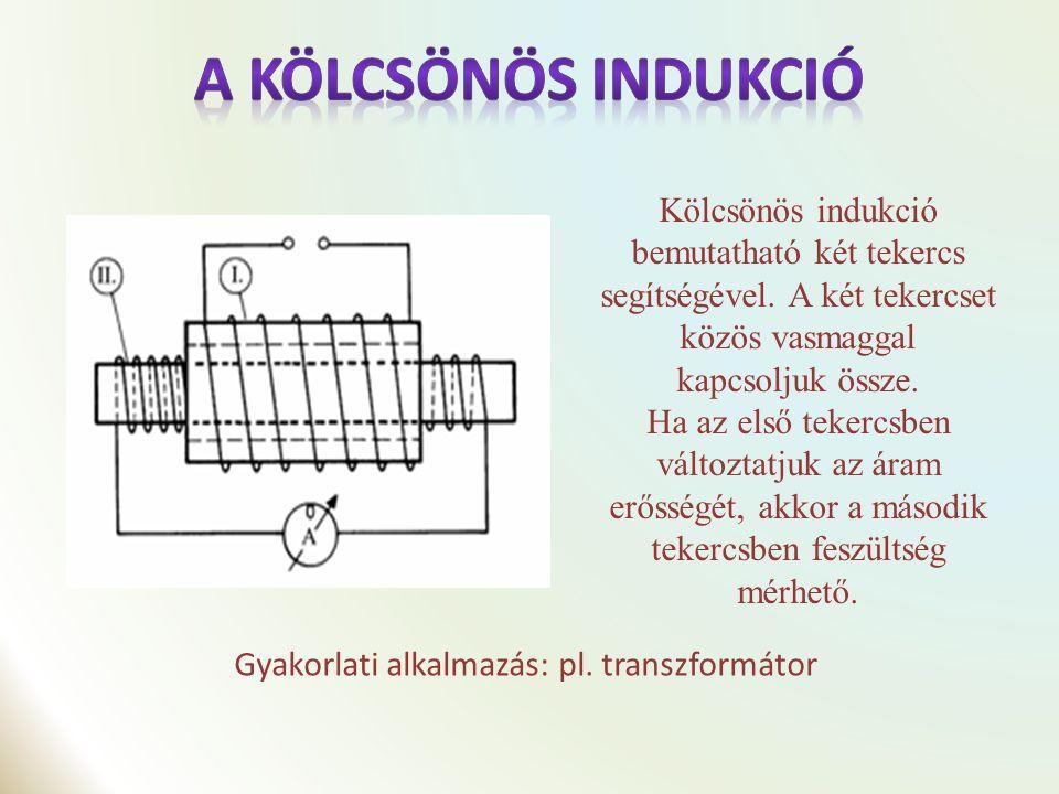 A jelenség magyarázata a következő: Az első tekercsben az áramerősség változása miatt egy időben változó mágneses mező alakul ki.