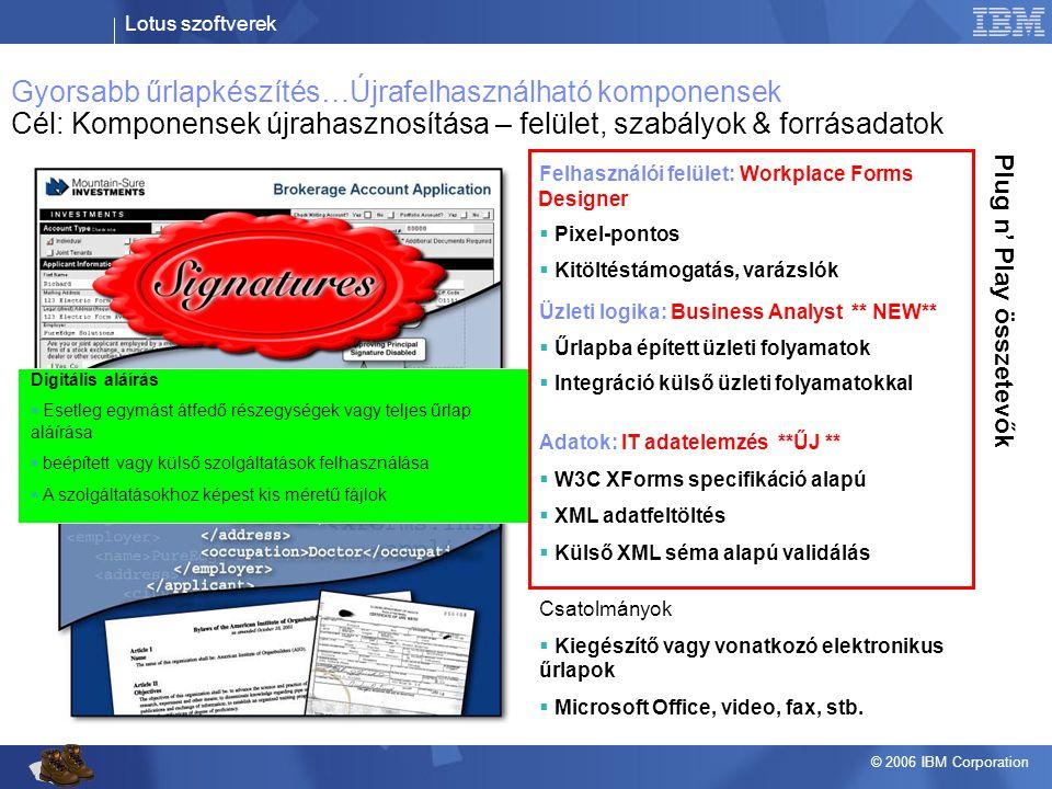 Lotus szoftverek © 2006 IBM Corporation Adatok: IT adatelemzés **ŰJ **  W3C XForms specifikáció alapú  XML adatfeltöltés  Külső XML séma alapú vali