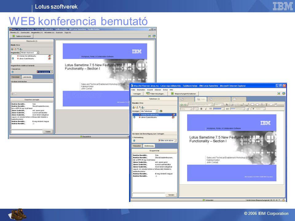 Lotus szoftverek © 2006 IBM Corporation WEB konferencia bemutató