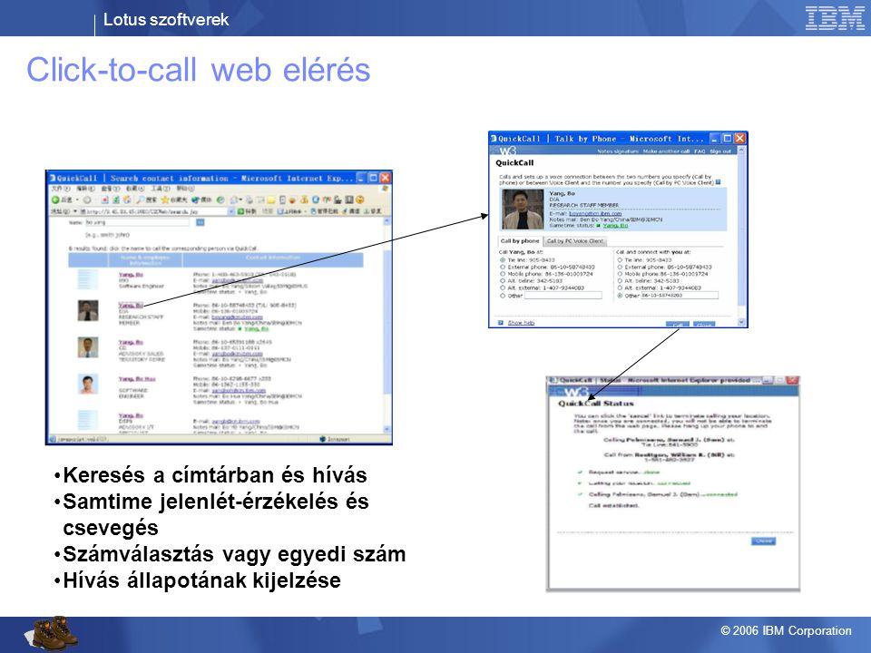 Lotus szoftverek © 2006 IBM Corporation Click-to-call web elérés •Keresés a címtárban és hívás •Samtime jelenlét-érzékelés és csevegés •Számválasztás