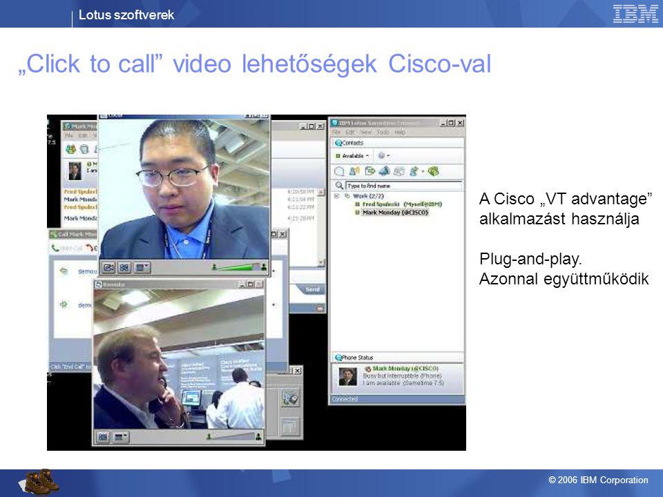 """Lotus szoftverek © 2006 IBM Corporation """"Click to call"""" video lehetőségek Cisco-val A Cisco """"VT advantage"""" alkalmazást használja Plug-and-play. Azonna"""
