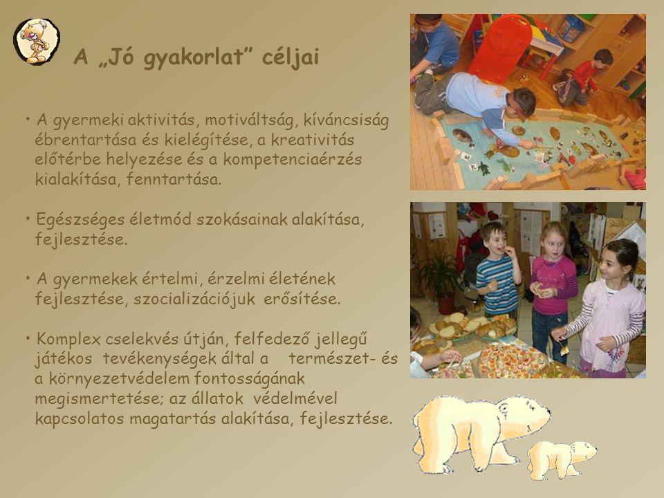 """A """"Jó gyakorlat"""" céljai • A gyermeki aktivitás, motiváltság, kíváncsiság ébrentartása és kielégítése, a kreativitás előtérbe helyezése és a kompetenci"""