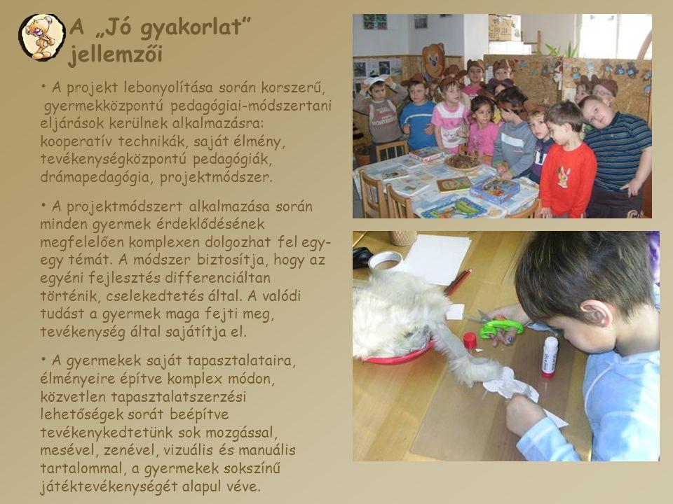 """A """"Jó gyakorlat"""" jellemzői • A projekt lebonyolítása során korszerű, gyermekközpontú pedagógiai-módszertani eljárások kerülnek alkalmazásra: kooperatí"""