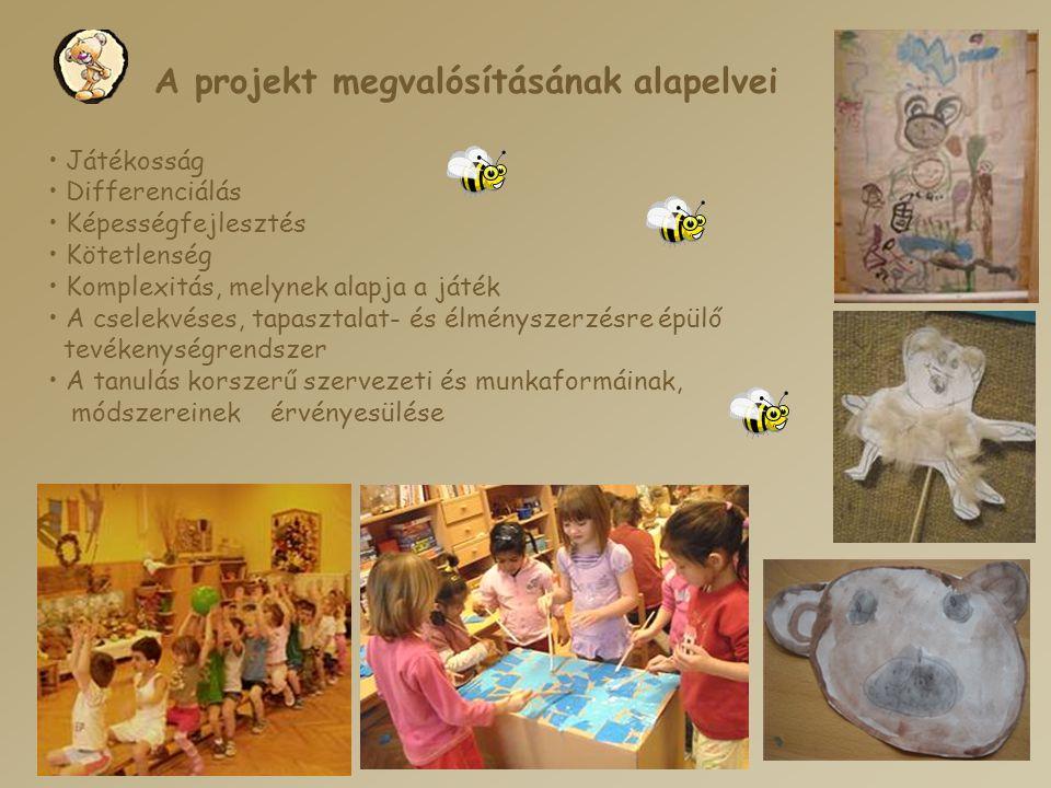 A projekt megvalósításának alapelvei • Játékosság • Differenciálás • Képességfejlesztés • Kötetlenség • Komplexitás, melynek alapja a játék • A cselek