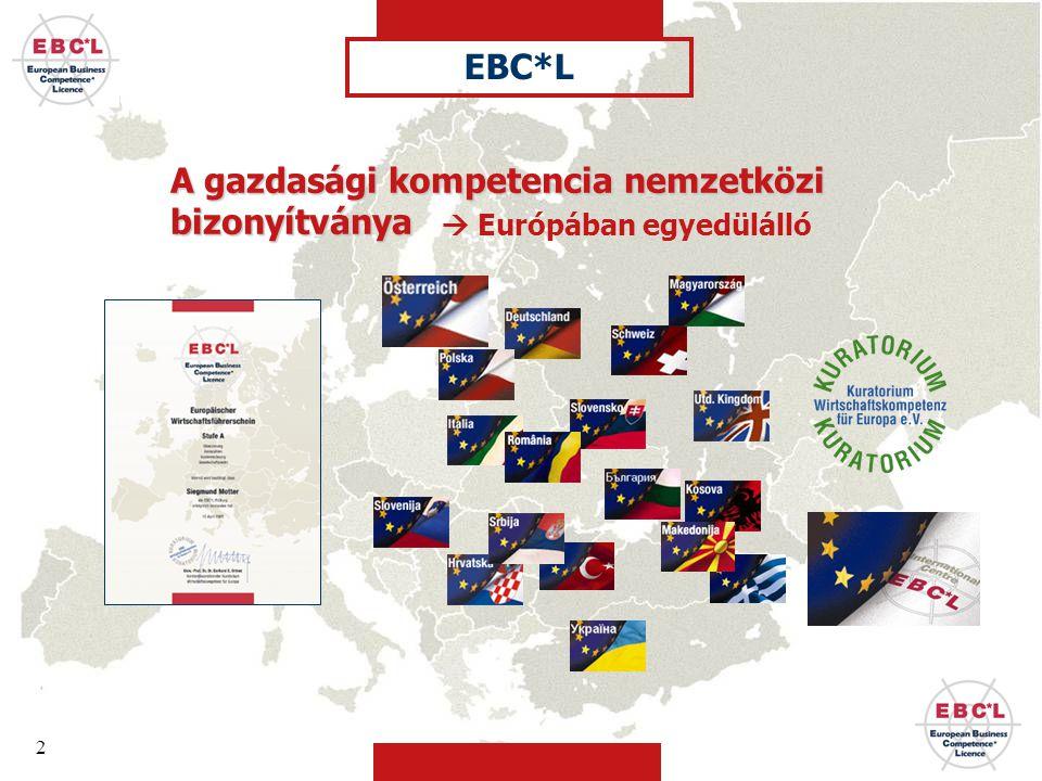 2 A gazdasági kompetencia nemzetközi bizonyítványa  Európában egyedülálló EBC*L