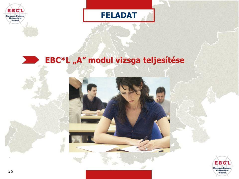 """26 FELADAT EBC*L """"A modul vizsga EBC*L """"A modul vizsga teljesítése"""