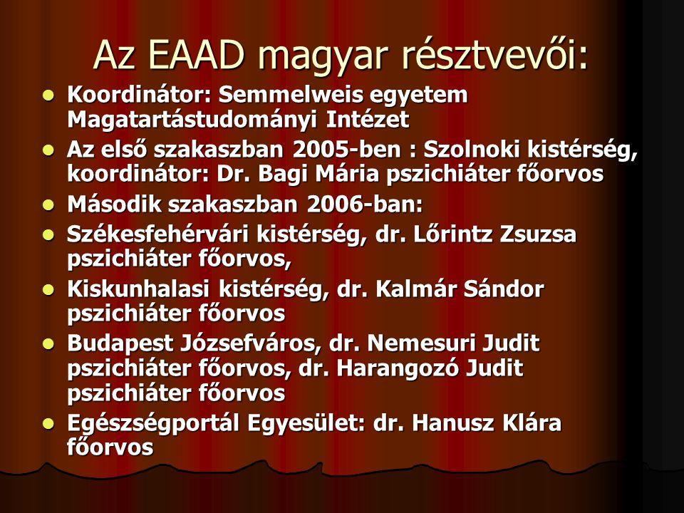 Az EAAD magyar résztvevői:  Koordinátor: Semmelweis egyetem Magatartástudományi Intézet  Az első szakaszban 2005-ben : Szolnoki kistérség, koordinát