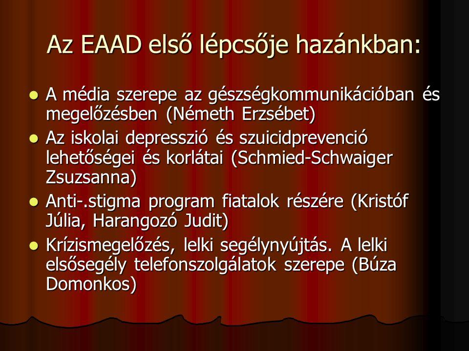 Az EAAD első lépcsője hazánkban:  A média szerepe az gészségkommunikációban és megelőzésben (Németh Erzsébet)  Az iskolai depresszió és szuicidpreve