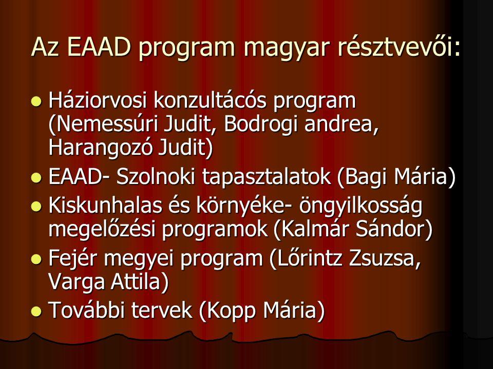 Az EAAD program magyar résztvevői:  Háziorvosi konzultácós program (Nemessúri Judit, Bodrogi andrea, Harangozó Judit)  EAAD- Szolnoki tapasztalatok