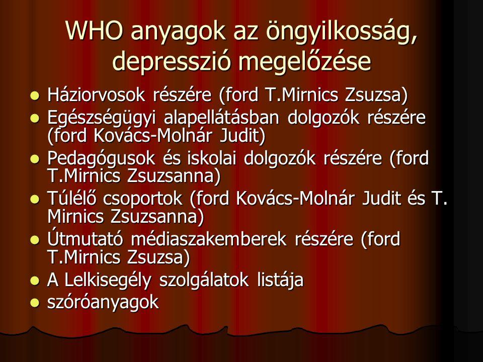 WHO anyagok az öngyilkosság, depresszió megelőzése  Háziorvosok részére (ford T.Mirnics Zsuzsa)  Egészségügyi alapellátásban dolgozók részére (ford