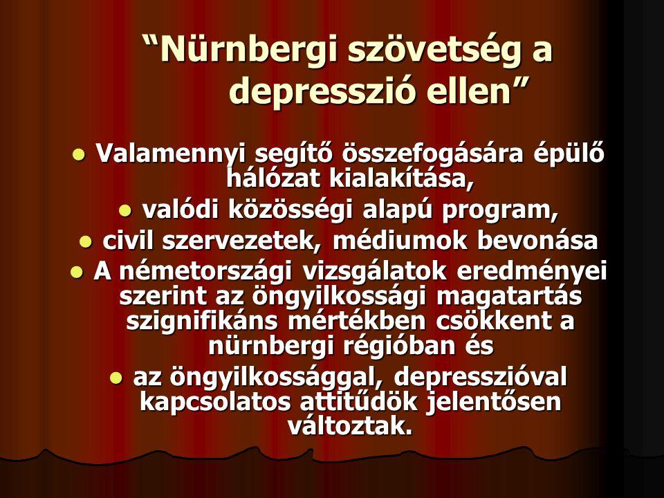 """""""Nürnbergi szövetség a depresszió ellen""""  Valamennyi segítő összefogására épülő hálózat kialakítása,  valódi közösségi alapú program,  civil szerve"""
