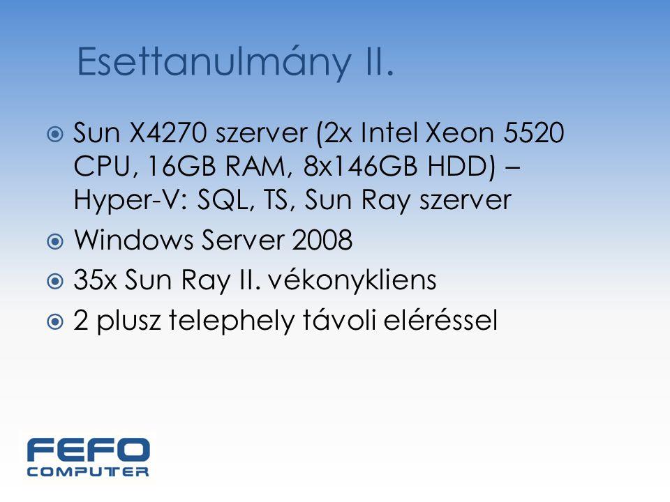  Sun X4270 szerver (2x Intel Xeon 5520 CPU, 16GB RAM, 8x146GB HDD) – Hyper-V: SQL, TS, Sun Ray szerver  Windows Server 2008  35x Sun Ray II. vékony