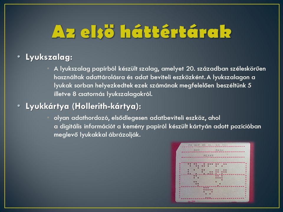 • Lyukszalag: • A lyukszalag papírból készült szalag, amelyet 20. században széleskörűen használtak adattárolásra és adat beviteli eszközként. A lyuks