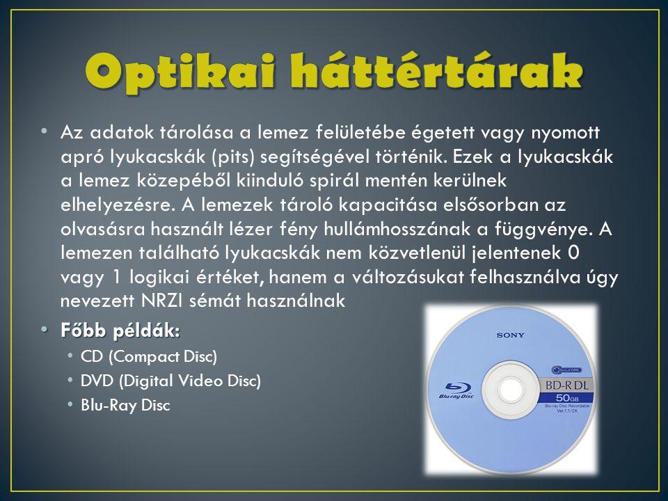 • Az adatok tárolása a lemez felületébe égetett vagy nyomott apró lyukacskák (pits) segítségével történik. Ezek a lyukacskák a lemez közepéből kiindul