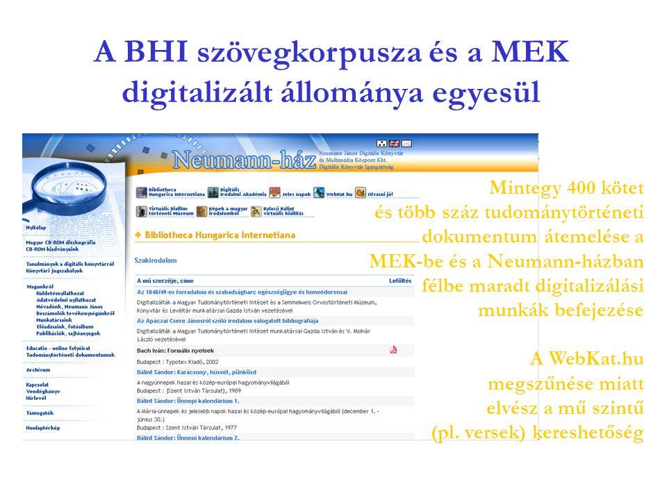A BHI szövegkorpusza és a MEK digitalizált állománya egyesül Mintegy 400 kötet és több száz tudománytörténeti dokumentum átemelése a MEK-be és a Neumann-házban félbe maradt digitalizálási munkák befejezése A WebKat.hu megszűnése miatt elvész a mű szintű (pl.
