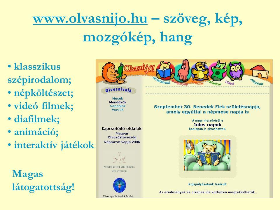 www.olvasnijo.huwww.olvasnijo.hu – szöveg, kép, mozgókép, hang • klasszikus szépirodalom; • népköltészet; • videó filmek; • diafilmek; • animáció; • interaktív játékok Magas látogatottság!